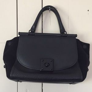 Coach mixed leather satchel, Drifter, black